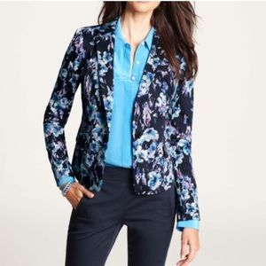 Ann Taylor Moody Floral Jacket Blazer Blue Size 6